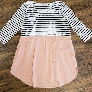 Fun flowy top. Pink/white/black with stripes